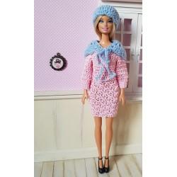 patron robe, châle et bonnet au crochet pour Barbie