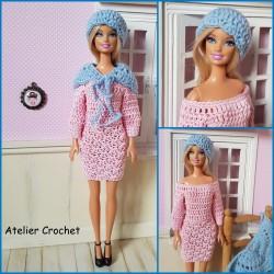 patron ensemble robe, châle et bonnet au crochet pour Barbie