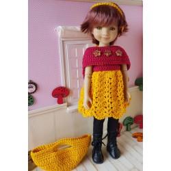 patron robe, étole, bandeau et sac au crochet pour poupée Fashion Friends