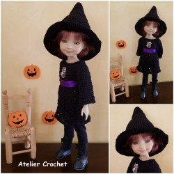 Patron crochet tenue d'Halloween pour poupée Fashion Friends