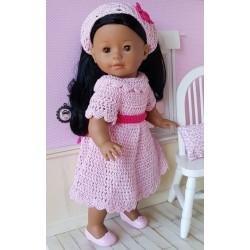 Ensemble robe et fichu au crochet pour poupée Ma Corolle