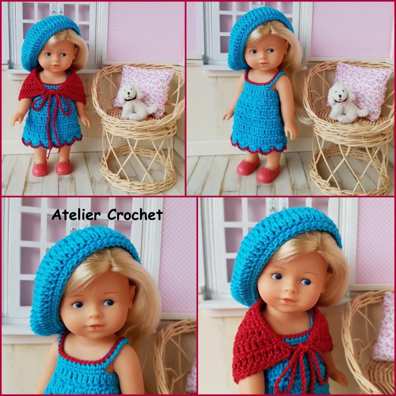 Ensemble turquoise et rouge au crochet pour poupée mini corolline de chez Corolle