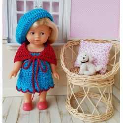 ensemble robe, châle et béret pour poupée mini corolline