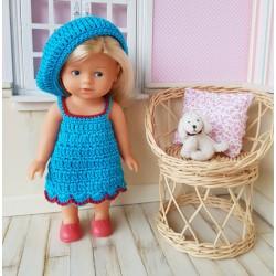 robe et béret au crochet pour poupée mini corolline de chez Corolle