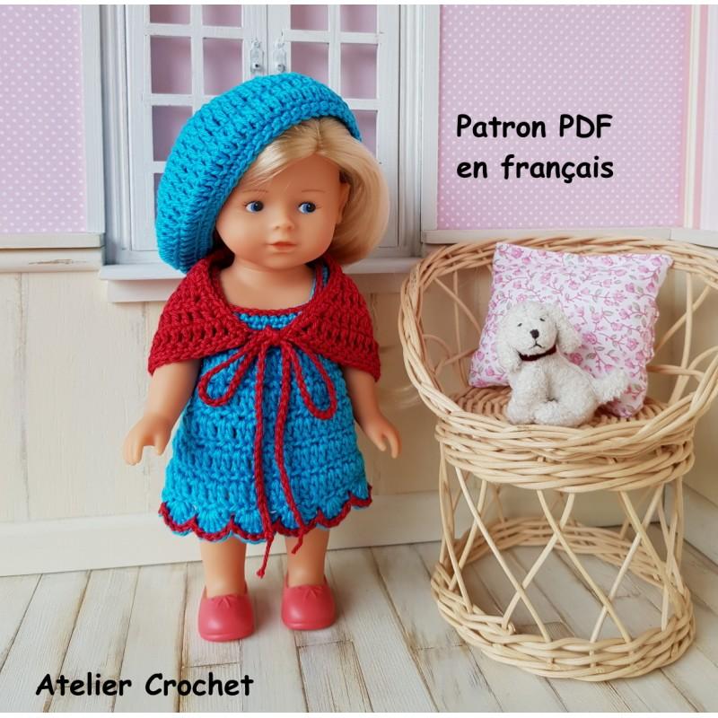 Patron ensemble robe, châle et béret au crochet pour poupée mini corolline