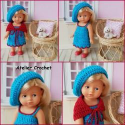 Patron robe, châle et béret au crochet pour poupée mini corolline