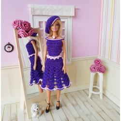 Dress, belt and beret crochet pattern for Barbie