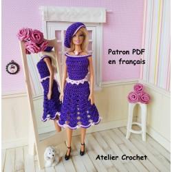 Patron d'un ensemble robe, ceinture et béret au crochet pour Barbie
