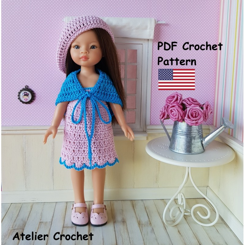 Dress, shawl and beret crochet pattern for Paola Reina Las Amigas