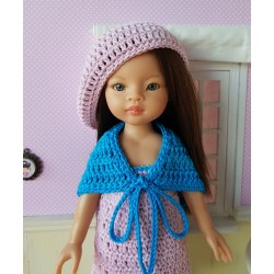 Dress, shawl and beret crochet pattern for 32-33cm doll