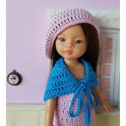 Dress, shawl and beret crochet pattern for doll