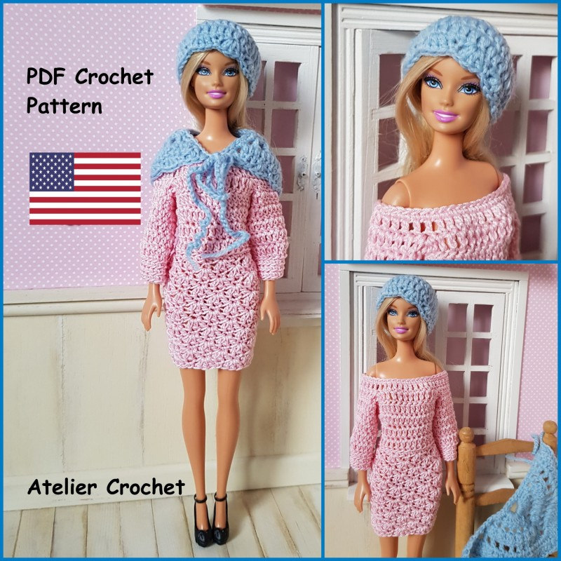 dress, shawl and hat crochet pattern for Barbie.