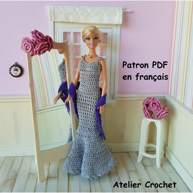 patron d'une robe longue et d'une étole au crochet pour poupée Barbie