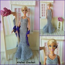 patron d'un ensemble de soirée au crochet pour poupée Barbie