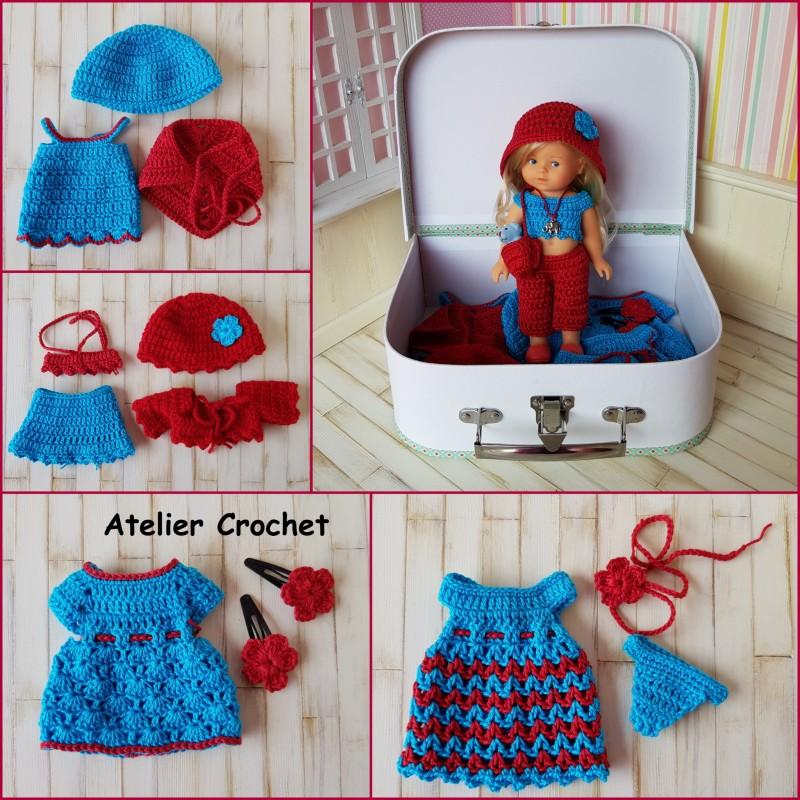 coffret cadeau composé d'une poupée mini corolline et de ses vêtements au crochet