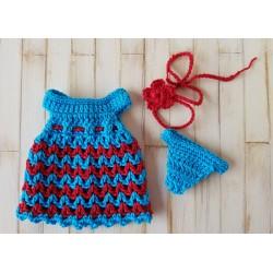 robe au crochet, culotte et serre-tête pour poupée mini corolline