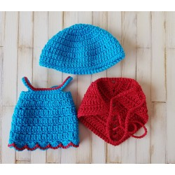 robe au crochet, châle et béret pour poupée mini corolline