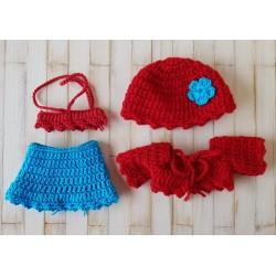 jupe, top, gilet et bonnet au crochet pour poupée mini corollline