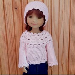 Pull et bonnet au crochet pour poupée Fashion Friends