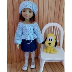 ensemble gilet court et bonnet au crochet pour poupée Fashion Friends