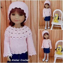 Pullover and hat crochet pattern for Fashion Friends