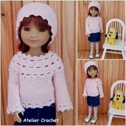 patron pullover et bonnet pour poupée Fashion Friends