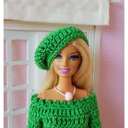 Dress and beret crochet pattern for Barbie