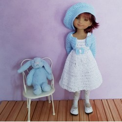 Dress, cardigan and beret crochet pattern for Fashion Friends doll