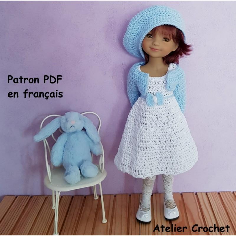 Patron robe, gilet et béret au crochet pour poupée Fashion Friends
