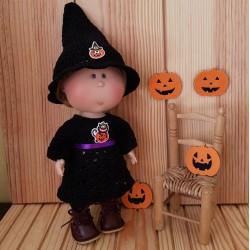 Robe et chapeau de sorcière au crochet pour poupée Mia Nines d'Onil