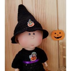 Chapeau de sorcière au crochet pour poupée Mia Nines d'Onil
