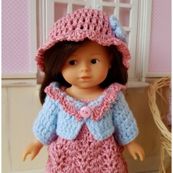 Patron d'une robe, d'un chapeau, d'un gilet et d'un sac au crochet pour mini corolline