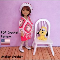 Poncho, skirt and beret crochet pattern for Ruby Red Fashion Friends Doll