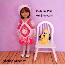 patron poncho, jupe et béret au crochet pour poupée Fashion Friends