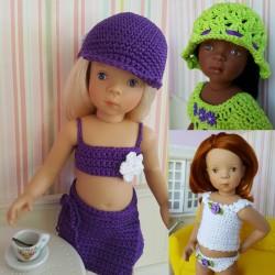 """Exemple de 3 tenues au crochet réalisées avec les patrons du livre """"Le dressing de ma poupée"""""""