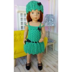 Tenue Lucy au crochet comprenant une robe et un bonnet