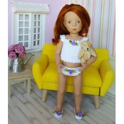 Ensemble de lingerie Lalie au crochet comprenant une culotte, un caraco et une paire de chaussures