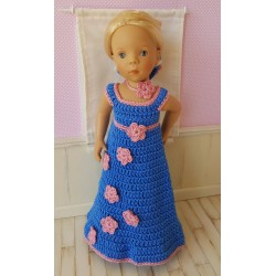 Lana tenue de soirée au crochet composée d'une robe longue, d'une ceinture, d'un collier et d'un chouchou