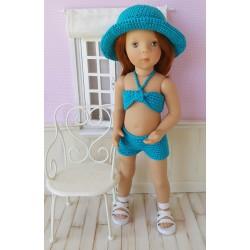 Lucile tenue d'été au crochet composée d'un short, d'un top et d'un chapeau