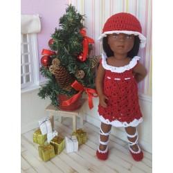 Ludivine, tenue de Noël au crochet composée d'une robe, d'un chapeau et d'une paire de chaussures