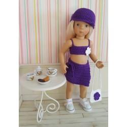 Lola, ensemble au crochet composé d'une jupe portefeuille, d'un top et d'une casquette