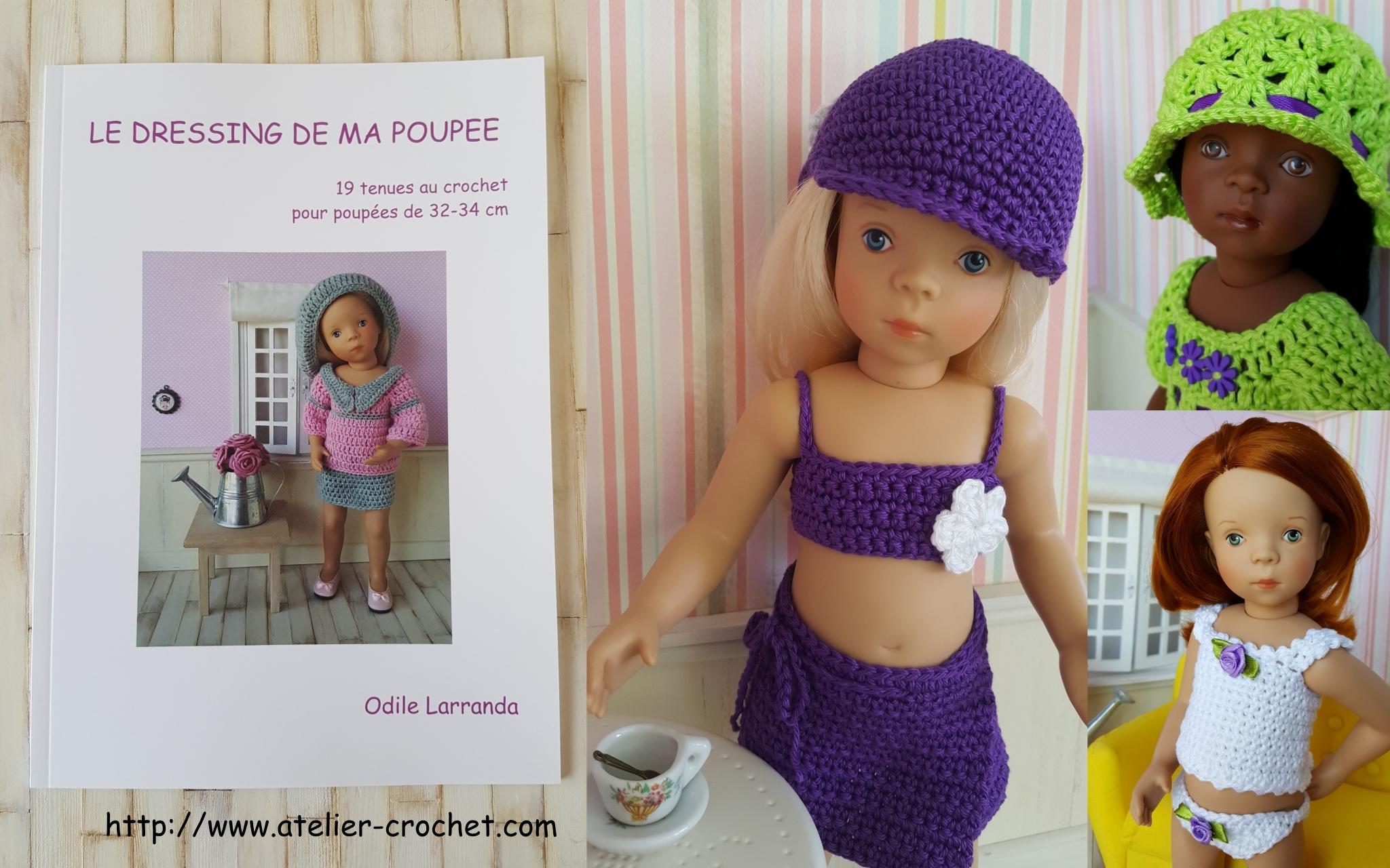 """livre """"Le dressing de ma poupée"""" patron de 19 tenues au crochet pour poupée"""